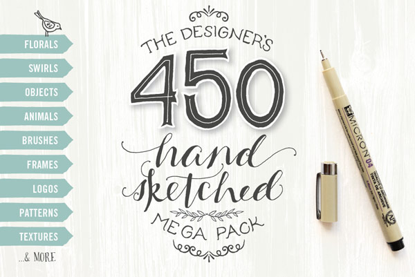 The designer's hand sketched megapack with more than 450 handmade illustrations and graphic elements.
