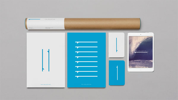The stationery set is mainly based on cyan blue and white colors.