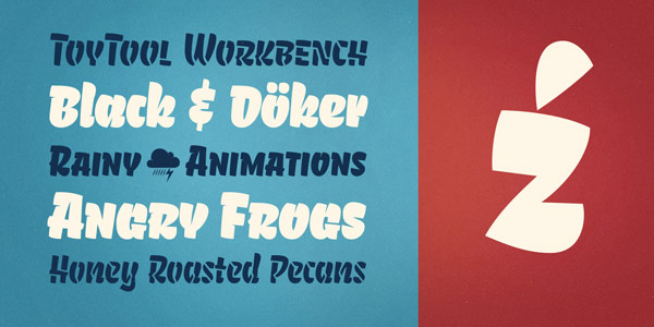 A playful round display font in four different styles.