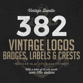 Download 382 Vintage Logos in one Bundle