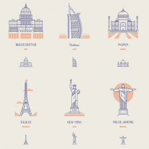 World Landmarks - Line Icons by Makers Company