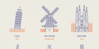 A set of 12 line icons of world landmarks created by Makers Company.