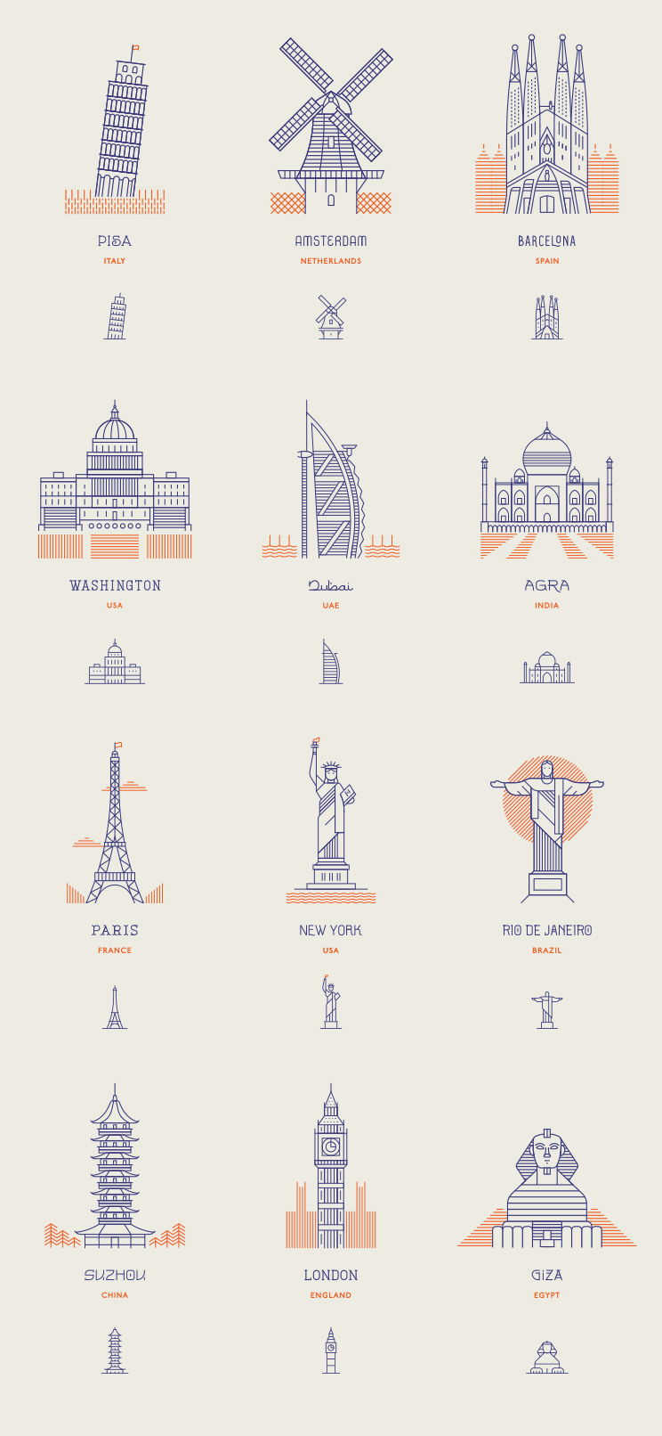 World Landmarks – Line Icons by Makers Company