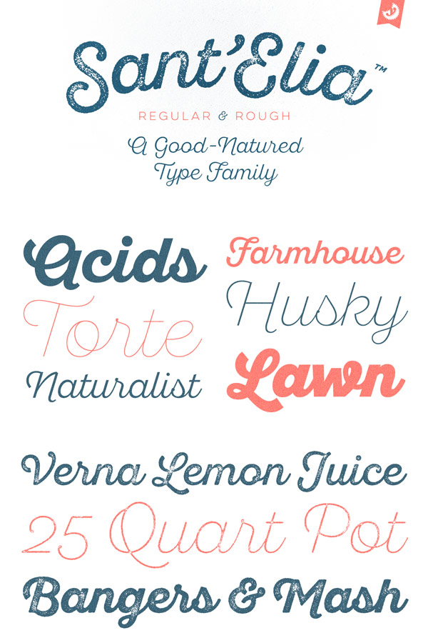 Sant'Elia Script from Yellow Design Studio is a good-natured type family with regular and rough styles.