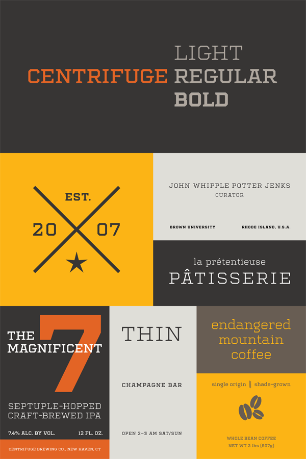 The Centrifuge font family draws inspiration from the industrial-chic of the 19th century.