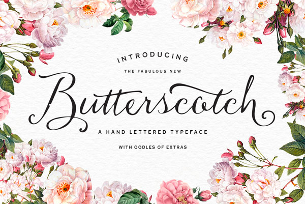 The fabulous new Butterscotch font by Nicky Laatz is a hand lettered typeface with oodles of extras.