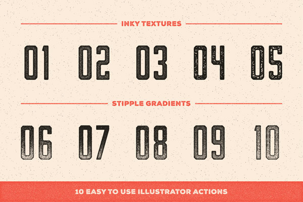 10 Easy to use Adobe Illustrator actions with inky textures and stipple gradients.