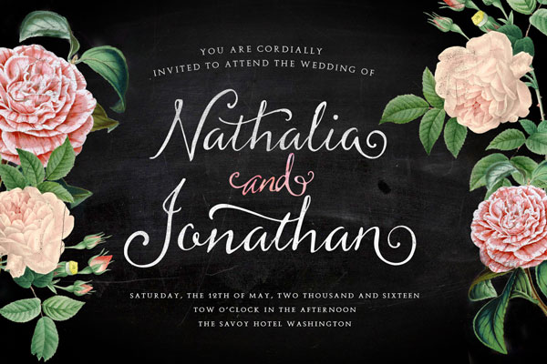 Example of a wedding invitation with floral design and this beautiful script font.