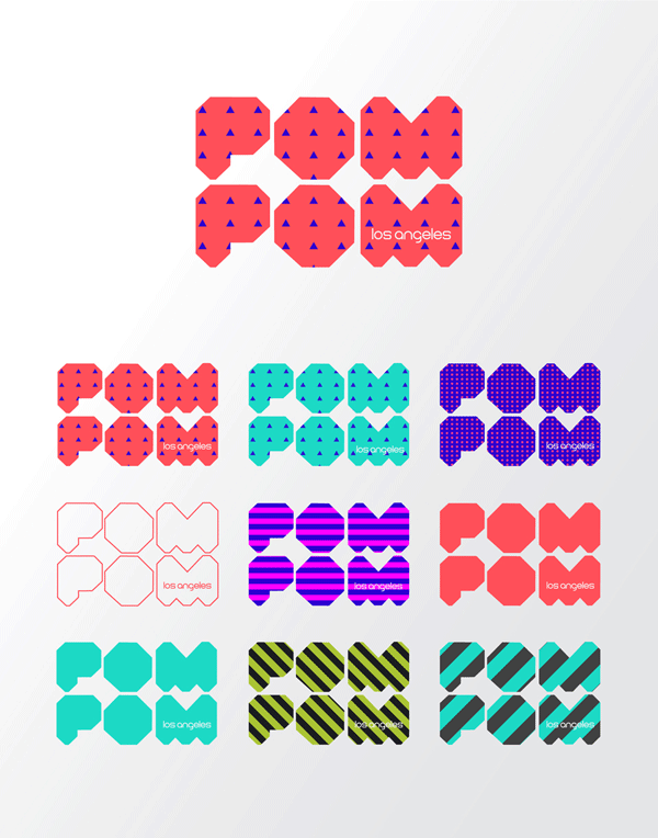 Logo versions with different colors and patterns.