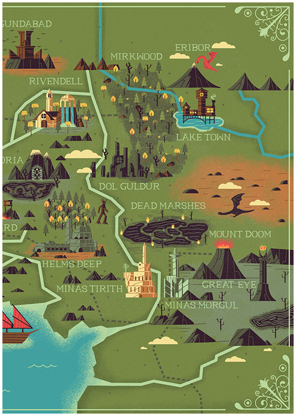 The right part of the map with several detailed illustrations of landmarks.