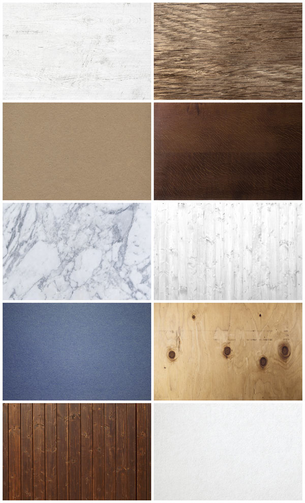 Over 10 high resolution textures of wood, marble, and paper.