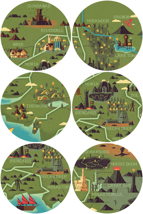 The realms of middle earth.