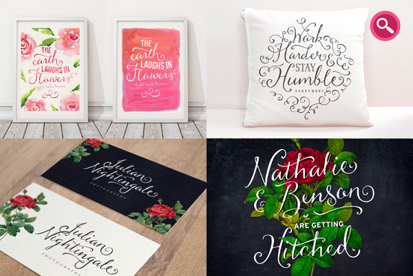 Several examples of use such as posters, prints on fabric, and invitations.