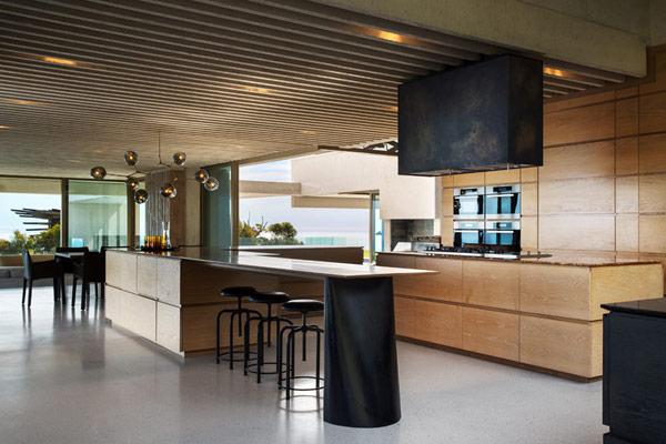 The modern and stylish kitchen design.