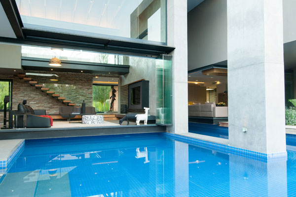 View from the pool into the living space.