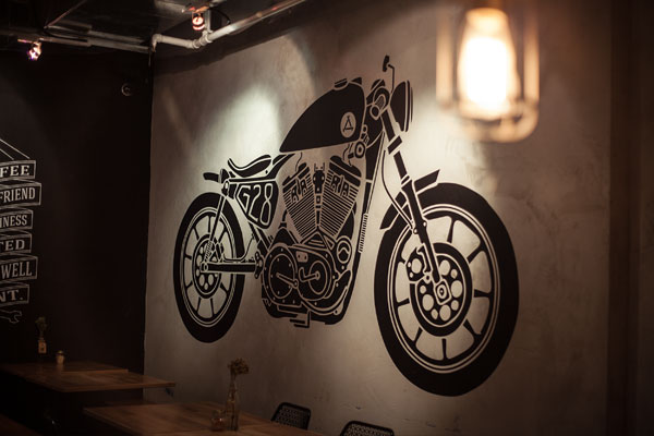 Old motorbike wall illustration.