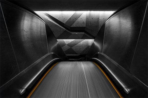 Architectural photography of the underground.