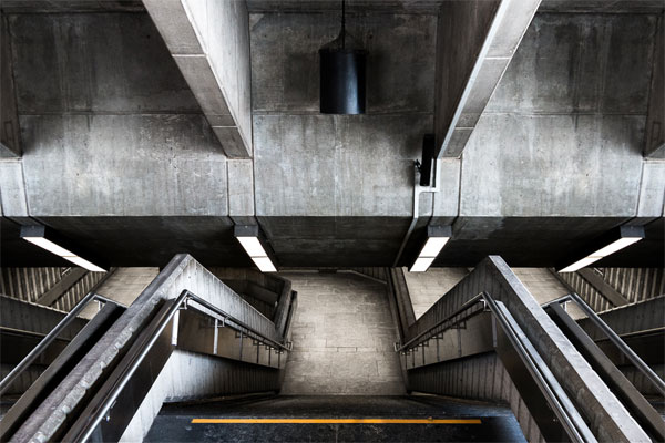 Architecture photography under the city of Montral.
