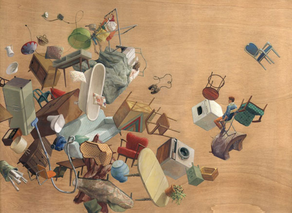 Artwork of floating objects.