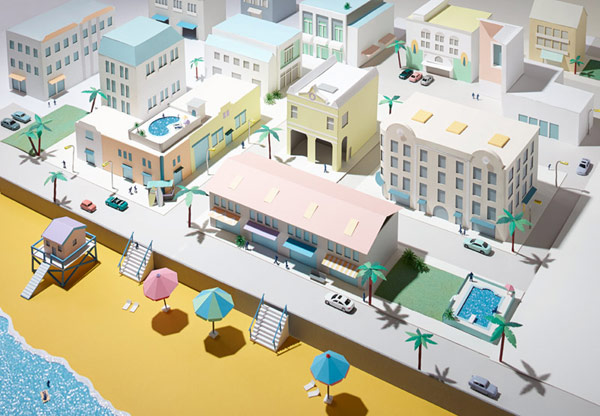 Editorial artwork of a beach in Miami for Stylist Magazine.