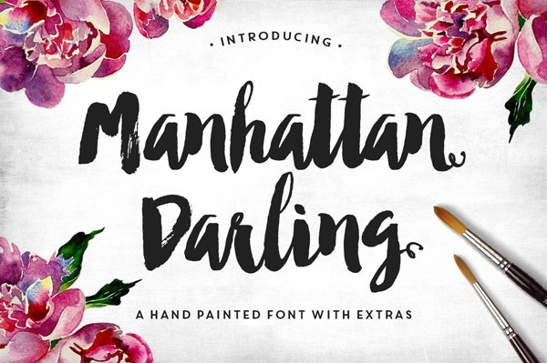Manhattan Darling, a hand painted font with extras.