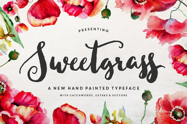 Sweetgrass typeface, a hand painted font with floral vectors and catchwords.