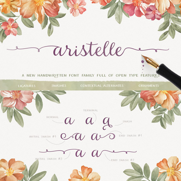 Aristelle font family, a beautifully hand-lettered script font with lots of Open Type features.