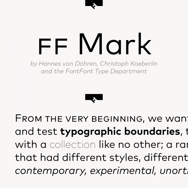 FF Mark Font Family from FontFont Type Department