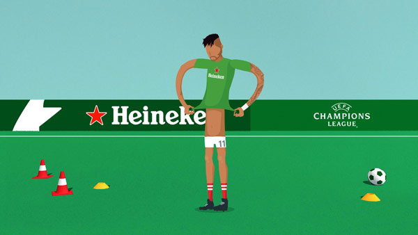 Heineken - UEFA Champions League animation created by Amsterdam based creative production studio PlusOne.