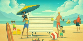 Illustration project by Brian Miller for The Great Big Family Reunion campaign for Banana Boat.