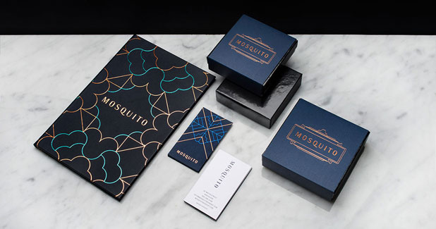 Mosquito - champagne and dessert bar branding by Glasfurd and Walker.