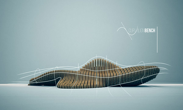 Parametric design, the Curvilign Bench, a furniture concept by Clément Loyer.