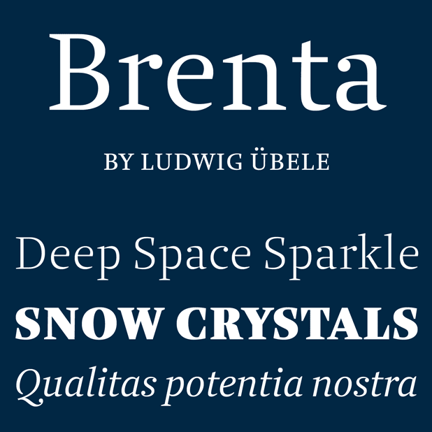 The Brenta font family by Ludwig Übele is a crisp serif typeface with open counters and well balanced proportions.