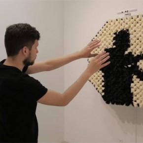 The Pom Pom Mirror by Daniel Rozin at Bitforms Gallery