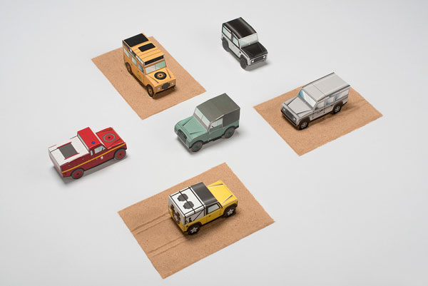 Land Rover Defender miniature cars.