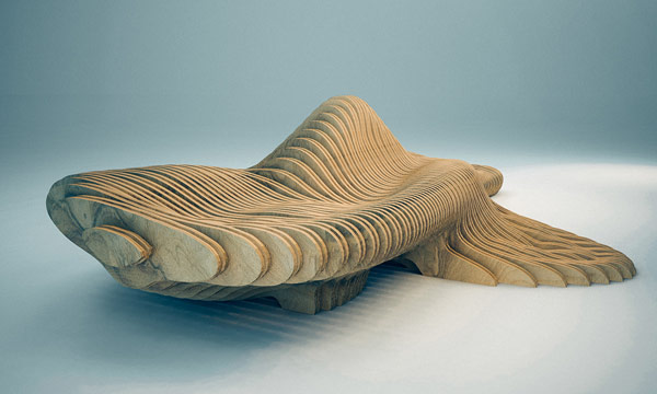 The flowing forms of this bench are inspired by the organic shapes found in the deep sea.