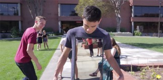 In the film, Invisible Man, Zach King utilizes visual illusion in real time.