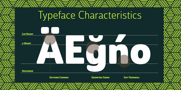 Some of the typeface characteristics.