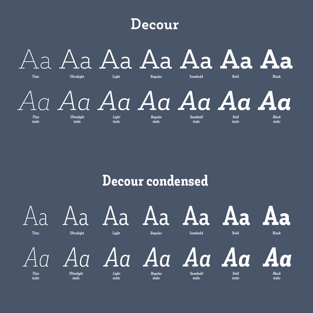 The normal and the condensed version of the Decour font family by Jorge Cisterna of foundry Latinotype.