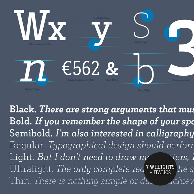 A beautiful typeface that works great for both headlines and text.