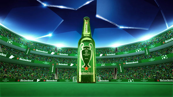 The giant Heineken bottle stands there like a trophy.