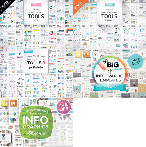 5 best selling infographic template packs in just one big bundle.