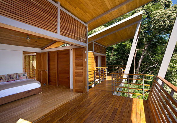Bedroom with open views of the Costa Rican Jungle.