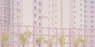 A surreal and deserted scenery in light pastel colors.