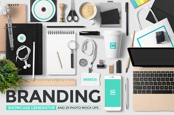 Branding showcase generator with 29 photo mock ups.
