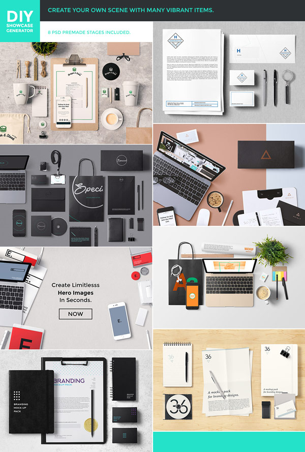 Create your own scenes with many vibrant items or use the premade PSD stages.