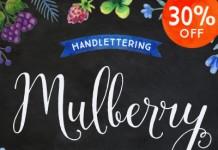 Mulberry, a handwritten calligraphy script font family.