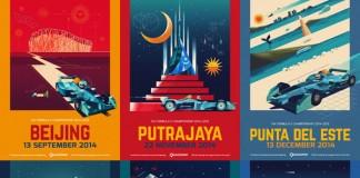 FIA Formula E Championship 2014-2015 - Poster illustrations by Dan Matutina.