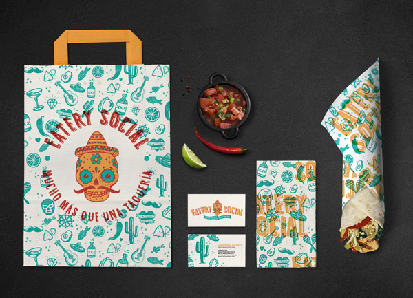 Restaurant identity of Eatery Social Taqueria, a project by top chef Marcus Samuelssons.