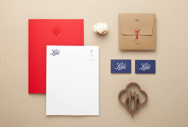 Stationery set for Lale, a UK-based firm specializing in quality fashion based on organic fabrics.